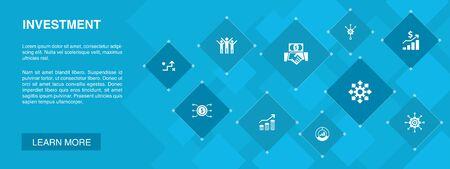 Investment banner 10 icons concept.profit, asset, market, success icons Illustration