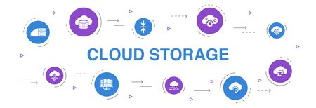 Cloud storage Infographic 10 steps circle design. Cloud Backup, data center, Hybrid Storage, Data Compression icons