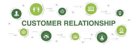 customer relationship Infographic 10 steps circle design. communication, service, CRM, customer care icons 向量圖像