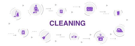 Cleaning Infographic 10 steps circle design. broom, trash can, sponge, dry cleaning icons Ilustracja