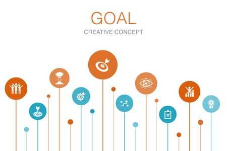 goal Infographic 10 steps template.target, wish, task, goal setting icons
