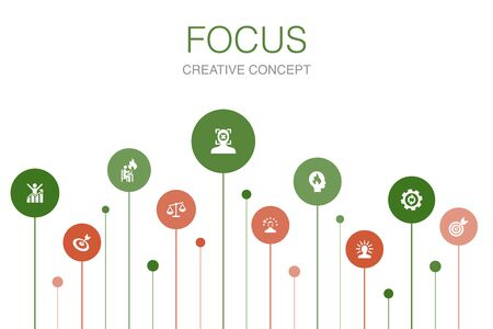 focus Infographic 10 steps template.target, motivation, integrity, process icons 向量圖像