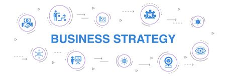 Business strategy Infographic 10 steps circle design. planning, business model, vision, development icons