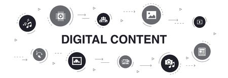digital content Infographic 10 steps circle design. vector image, media, video, social content icons