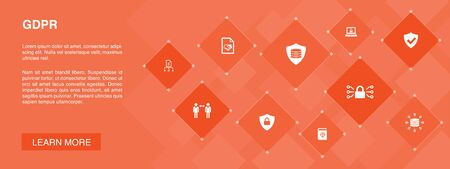 GDPR banner 10 icons concept.data, e-Privacy, agreement, protection icons