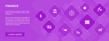 Finance banner 10 icons concept.Bank, Money, Graph, Exchange simple icons