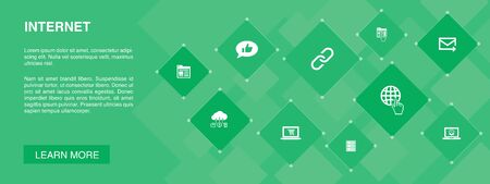 internet banner 10 icons concept. ecommerce, social media, website, Email icons Illustration