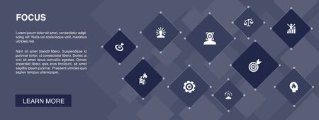 focus banner 10 icons concept.target, motivation, integrity, process icons