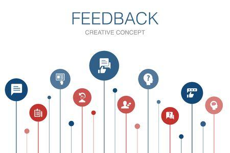 retroalimentación infografía plantilla de 10 pasos encuesta, opinión, comentario, iconos de respuesta Ilustración de vector