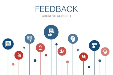 feedback Infographic 10 steps template.survey, opinion, comment, response icons Illustration