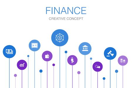 Finance Infographic 10 steps template.Bank, Money, Graph, Exchange icons 일러스트