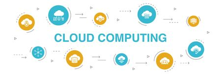 Cloud computing Infographic 10 steps circle design. Cloud Backup, data center, SaaS, Service provider icons