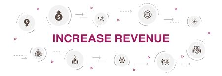 increase revenue Infographic 10 steps circle design. Raise prices, reduce expenses, best practices, strategy icons