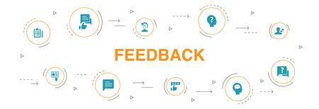 retroalimentación Infografía diseño de círculo de 10 pasos. encuesta, opinión, comentario, iconos de respuesta