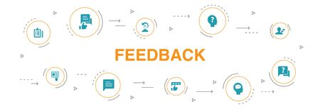 feedback Infographic 10 steps circle design. survey, opinion, comment, response icons