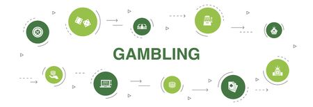 gambling Infographic 10 steps circle design. roulette, casino, money, online casino icons