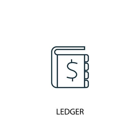 ledger concept line icon. Simple element illustration. ledger concept outline symbol design. Can be used for web and mobile UI  イラスト・ベクター素材