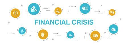 Crisis financiera Diseño de círculo de 10 pasos de infografía. déficit presupuestario, préstamos incobrables, deuda pública, iconos de refinanciación
