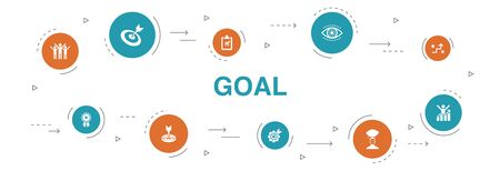 goal Infographic 10 steps circle design. target, wish, task, goal setting icons