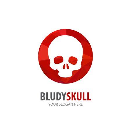 Bloody skull logo for business company. Simple Bloody skull logotype idea design