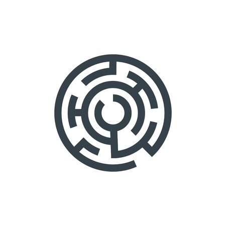 circle maze concept template design. Business icon shape. circle maze illustration 向量圖像