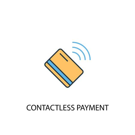 contactless payment concept 2 colored icon. Simple blue element illustration. contactless payment concept symbol design. Can be used for web and mobile  イラスト・ベクター素材