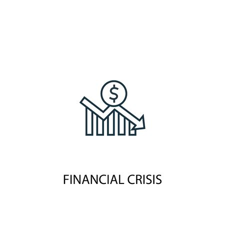 icona della linea del concetto di crisi finanziaria. Illustrazione semplice dell'elemento. disegno di simbolo di struttura del concetto di crisi finanziaria. Può essere utilizzato per web e mobile