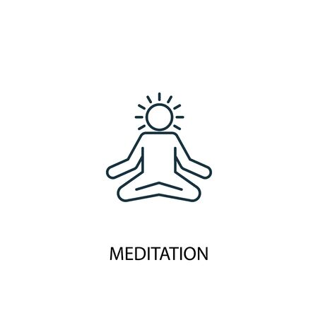 icône de ligne de concept de méditation. Illustration d'élément simple. conception de symbole de contour de concept de méditation. Peut être utilisé pour le Web et le mobile