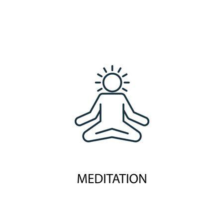 icona della linea del concetto di meditazione. Illustrazione semplice dell'elemento. disegno di simbolo di struttura di concetto di meditazione. Può essere utilizzato per web e mobile