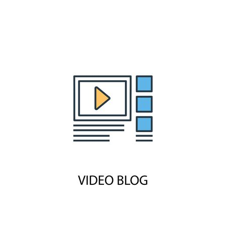 video blog concept 2 colored icon. Simple blue element illustration. video blog concept symbol design. Can be used for web and mobile