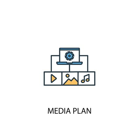 media plan concept 2 colored icon. Simple blue element illustration. media plan concept symbol design. Can be used for web and mobile 일러스트