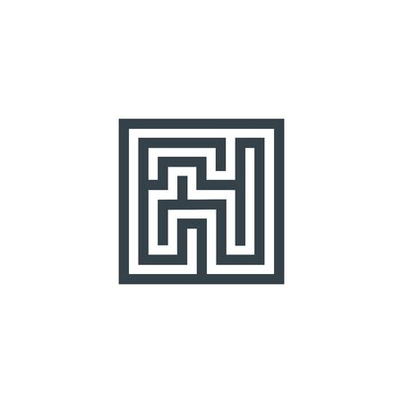 square maze concept logotype template design. Business icon shape. square maze simple illustration