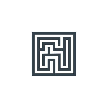 square maze concept logotype template design. Business icon shape. square maze simple illustration