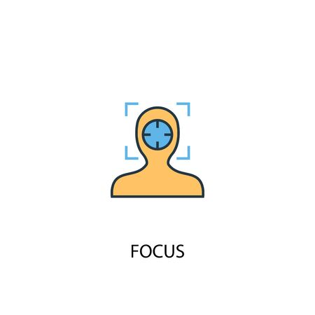 focus concept 2 colored icon. Simple blue element illustration. focus concept symbol design. Can be used for web and mobile Ilustrace