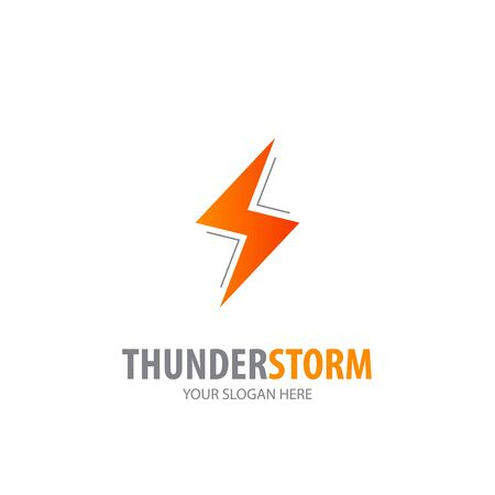 Thunderstorm logo for business company. Simple Thunderstorm logotype idea design Stockfoto - 130456636