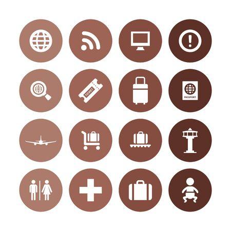 Conjunto universal de iconos de aeropuerto para web y interfaz de usuario.