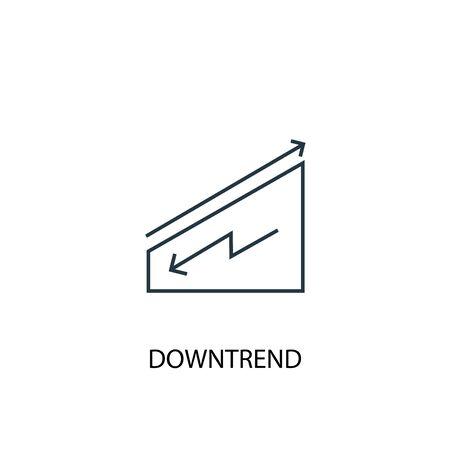 icono de línea de concepto de tendencia bajista. Ilustración de elemento simple. diseño de símbolo de esquema de concepto de tendencia bajista. Se puede utilizar para web y móvil. Ilustración de vector