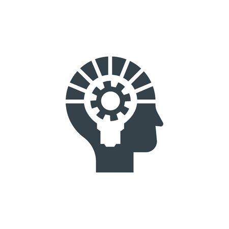 Head bulb gear concept logotype template design. Business logo icon shape. Head bulb gear simple illustration Stock Illustratie