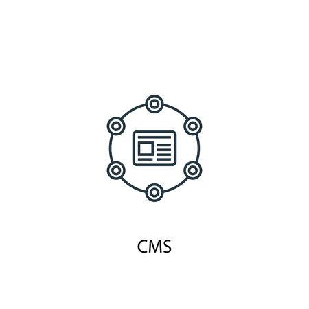 CMS concept line icon. Simple element illustration. CMS concept outline symbol design. Can be used for web and mobile