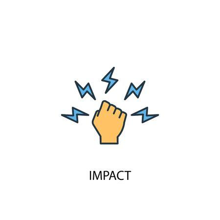 impatto concetto 2 icona colorata. Illustrazione semplice dell'elemento blu. disegno di simbolo del concetto di impatto. Può essere utilizzato per web e mobile