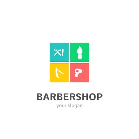 barbershop icons flat style logo Design with scissors, shaving brush, shaving blade, hair dryer icons. Trendy, creative, corporative logotype template. Stock Illustratie