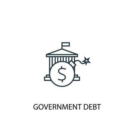 Government debt concept line icon. Simple element illustration. Government debt concept outline symbol design. Can be used for web and mobile