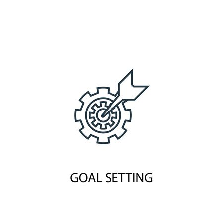 goal setting concept line icon. Simple element illustration. goal setting concept outline symbol design. Can be used for web and mobile