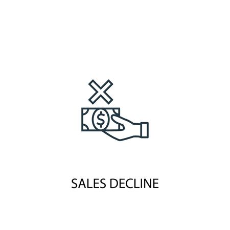 sales decline concept line icon. Simple element illustration. sales decline concept outline symbol design. Can be used for web and mobile