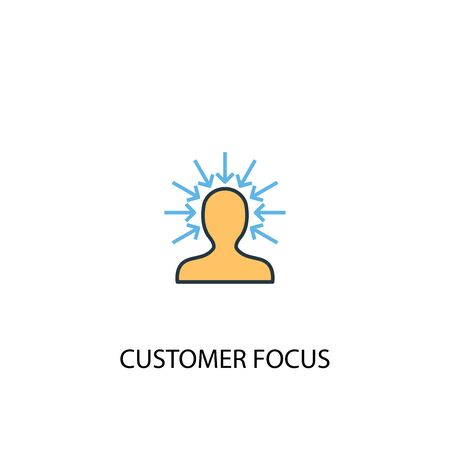 customer focus concept 2 colored icon. Simple blue element illustration. customer focus concept symbol design. Can be used for web and mobile