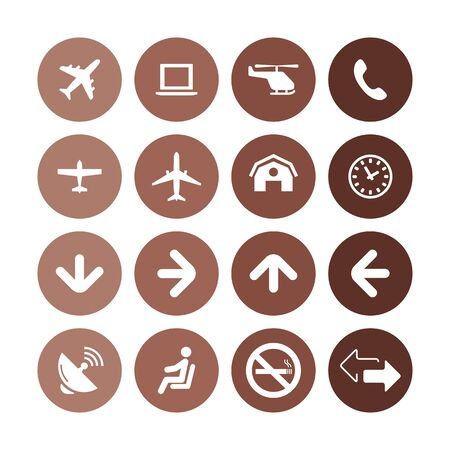 airport icons universal set for web and UI