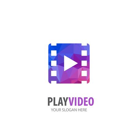 Video play logo for business company. Simple Video play logotype idea design
