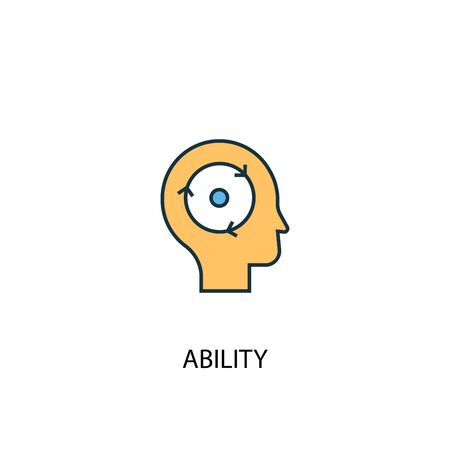 ability concept 2 colored icon. Simple blue element illustration. ability concept symbol design. Can be used for web and mobile