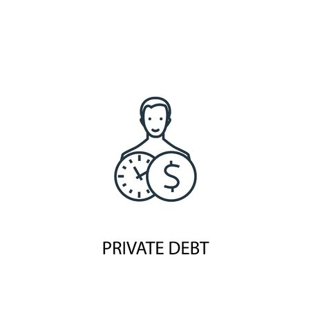 Private debt concept line icon. Simple element illustration. Private debt concept outline symbol design. Can be used for web and mobile Illustration