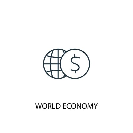 world economy concept line icon. Simple element illustration. world economy concept outline symbol design. Can be used for web and mobile